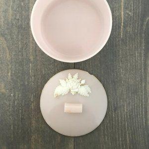 PINK ROSE - vintage - plastic powder jar